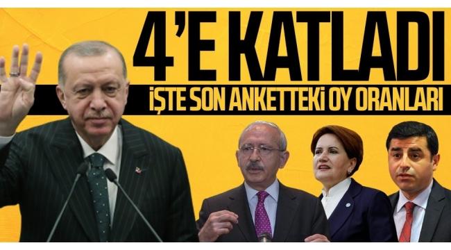 Son anket sonuçlarına göre oy oranı! Başkan Recep Tayyip Erdoğan 4'e katladı..